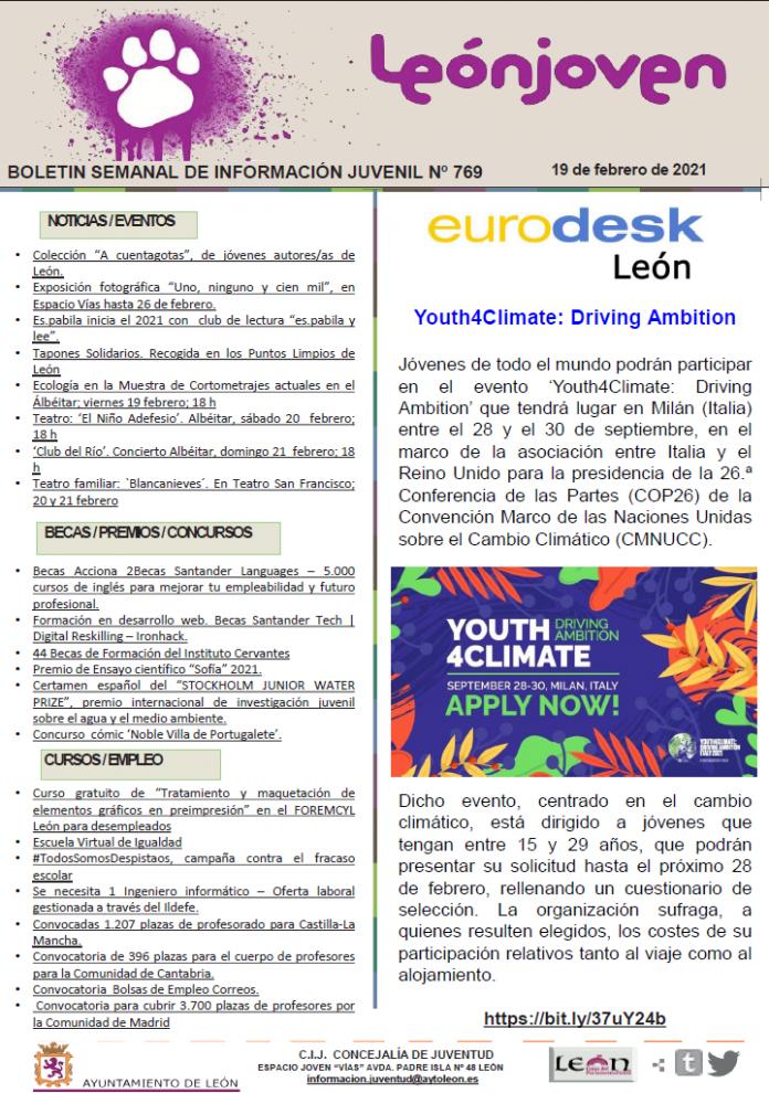 Boletín semanal de información juvenil nº 769 de 19 de febrero